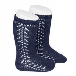 Side openwork knee-high warm-cotton socks NAVY BLUE