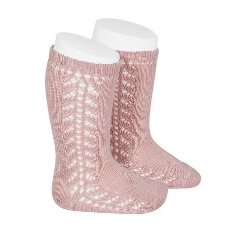 Side openwork knee-high warm-cotton socks PALE PINK