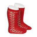 Side openwork knee-high warm-cotton socks RED