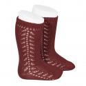 Side openwork knee-high warm-cotton socks BURGUNDY