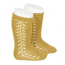 Side openwork knee-high warm-cotton socks MUSTARD