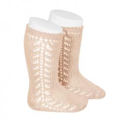 Chaussettes hautes chaudes ajourée lateral NUDE