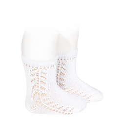 Baby side openwork short socks WHITE