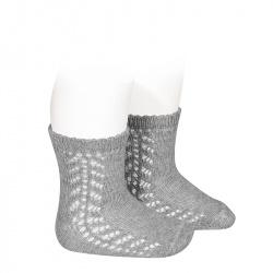 Baby side openwork short socks ALUMINIUM