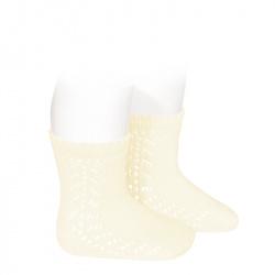 Baby side openwork short socks BEIGE
