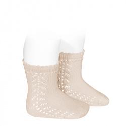 Baby side openwork short socks LINEN