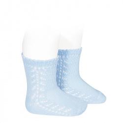 Chaussettes coton chaud ajouré latéral BLEU BEBE