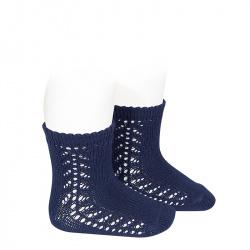 Chaussettes coton chaud ajouré latéral BLEU MARINE