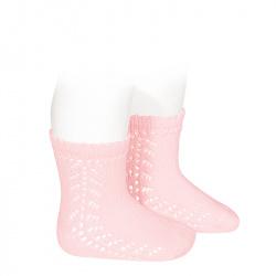 Chaussettes coton chaud ajouré latéral ROSE