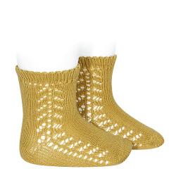 Baby side openwork short socks MUSTARD