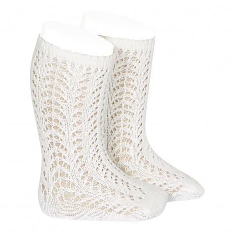 Calcetines altos cálidos calado crochet NATA