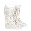 Warm cotton openwork knee-high socks CREAM