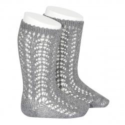 Calcetines altos cálidos calado crochet GRIS CLARO