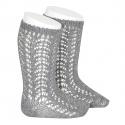 Warm cotton openwork knee-high socks LIGHT GREY