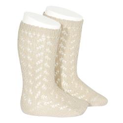 Warm cotton openwork knee-high socks LINEN
