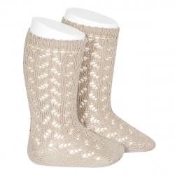 Warm cotton openwork knee-high socks STONE