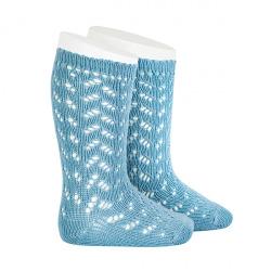 Warm cotton openwork knee-high socks CLOUD