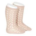 Warm cotton openwork knee-high socks OLD ROSE