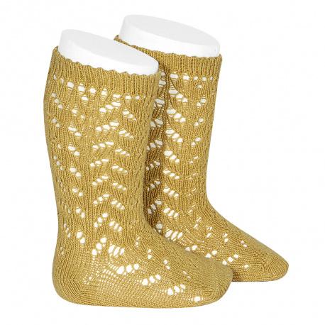 Warm cotton openwork knee-high socks MUSTARD