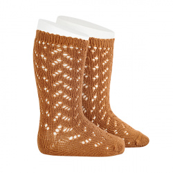 Warm cotton openwork knee-high socks CINNAMON