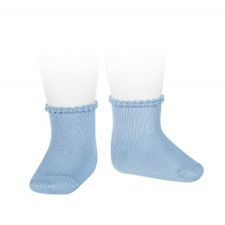 Short socks with patterned cuff BLUISH