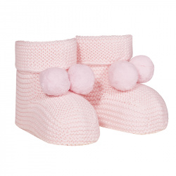 Garter stitch baby booties with pompoms PINK