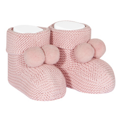 Garter stitch baby booties with pompoms PALE PINK