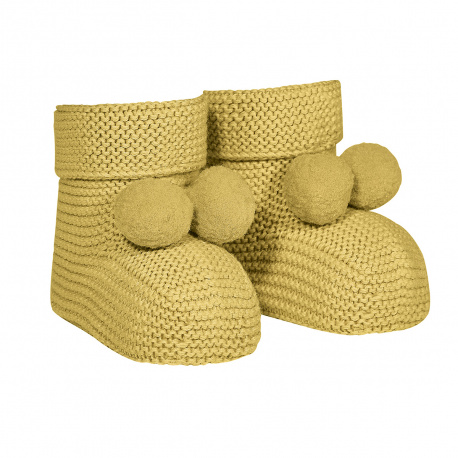 Garter stitch baby booties with pompoms MUSTARD