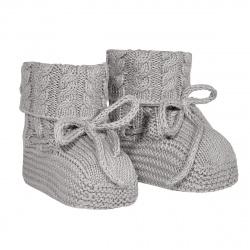 Baby aran stitch booties ALUMINIUM