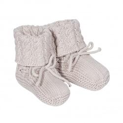 Baby aran stitch booties STONE
