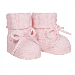 Baby aran stitch booties PINK