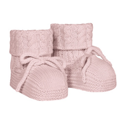 Baby aran stitch booties PALE PINK