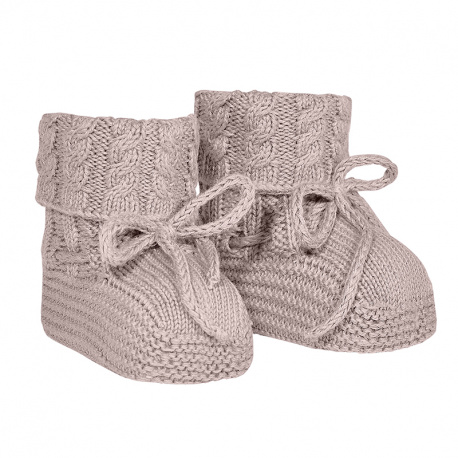 Baby aran stitch booties OLD ROSE
