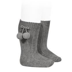 Chaussettes hautes coton chaud cotelé pompon GRIS CLAIR