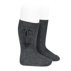 Chaussettes hautes coton chaud cotelé pompon ANTHRACITE