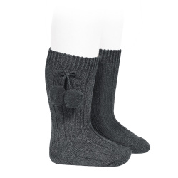 Warm cotton rib knee-high socks with pompoms ANTHRACITE