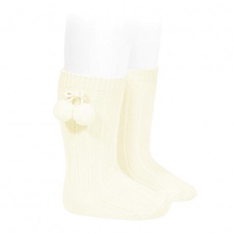 Warm cotton rib knee-high socks with pompoms BEIGE