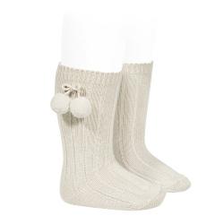 Chaussettes hautes coton chaud cotelé pompon LIN