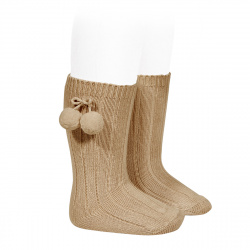 Chaussettes hautes coton chaud cotelé pompon CAMEL