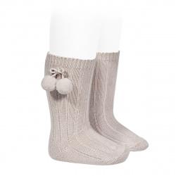 Chaussettes hautes coton chaud cotelé pompon PIERRE