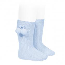 Chaussettes hautes coton chaud cotelé pompon BLEU BEBE