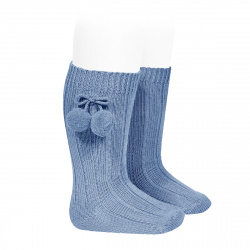 Warm cotton rib knee-high socks with pompoms FRENCH BLUE