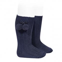 Chaussettes hautes coton chaud cotelé pompon BLEU MARINE