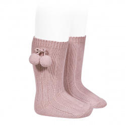 Warm cotton rib knee-high socks with pompoms PALE PINK
