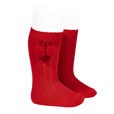 Warm cotton rib knee-high socks with pompoms RED