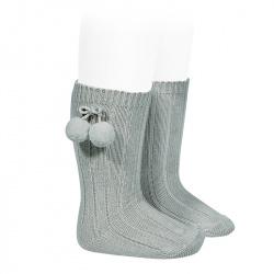 Warm cotton rib knee-high socks with pompoms DRY GREEN