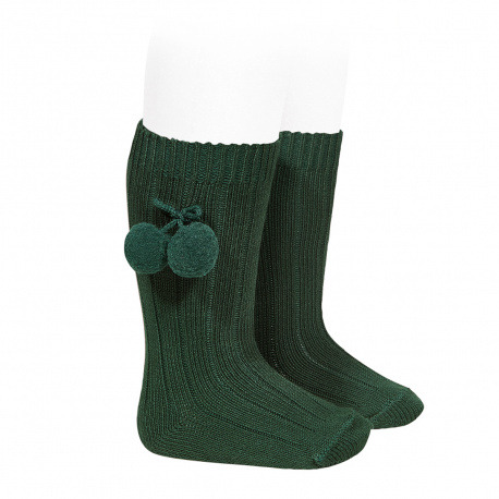 Warm cotton rib knee-high socks with pompoms BOTTLE GREEN