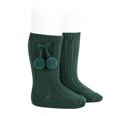 Warm cotton rib knee-high socks with pompoms PINE