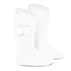 Warm cotton knee-high socks with pompoms WHITE