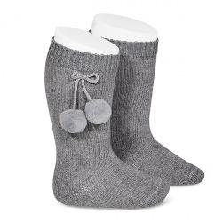 Warm cotton knee-high socks with pompoms LIGHT GREY
